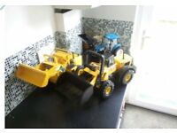 Tonka digger and Britains Tactor and Muscle tractor