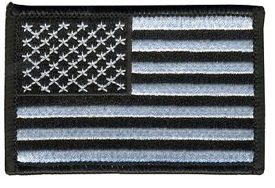 AMERICAN FLAG BLACK & WHITE  EMBROIDERED BIKER PATCH   iron on