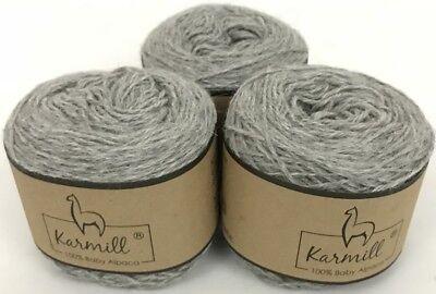 Alpaca Wool Skeins 100% Baby Alpaca Yarn Lot of 3  Light Gray  Color 4010, used for sale  Gilbert