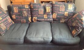 Free. Three seater settee. Slightly faded but solid and comfortable. Washable covers.