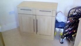 SMALL SOLID BEECH 2 DOOR 1 DRAWER SIDEBOARD