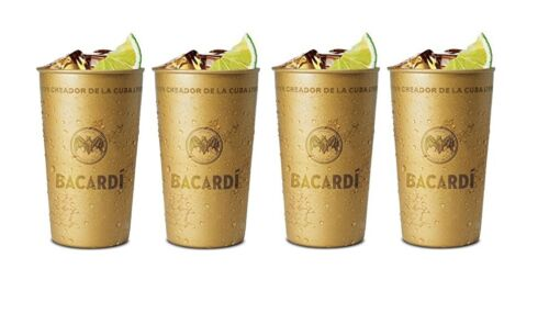 Bacardi Cocktail Tin Drinks Drinking Party Cup 350ml Bronze Cuba Libre Reuseable