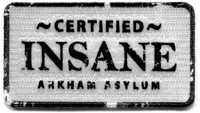 Batman THE JOKER Certified Insane Arkham Asylum IRON ON PATCH badge name tag DC