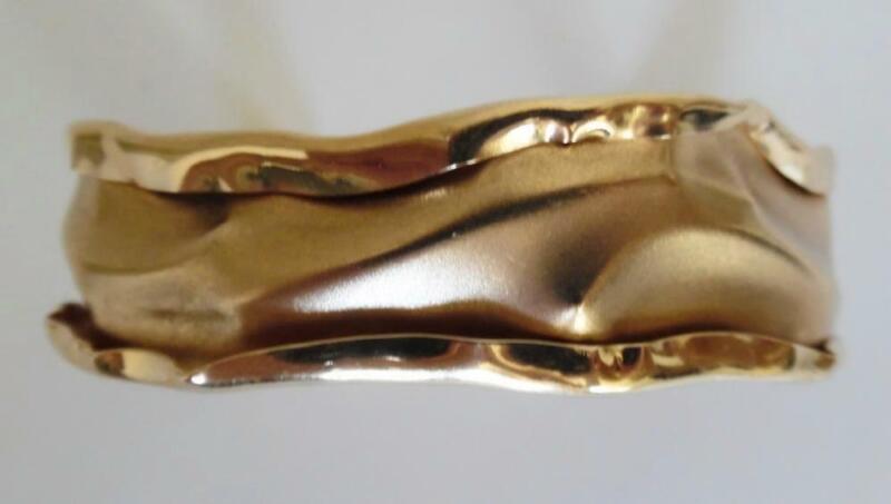 Vtg Signed 14K PJ Midcentury Modern Brutalist Gold Cuff Bracelet 18.1 Grams