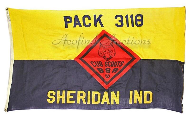 Vintage Annin BSA Boy CUB SCOUTS PACK 3118 Sheridan, Indiana 3 X 5ft Wool Flag