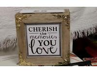 Cute cherish the memory box with gold embellished corners