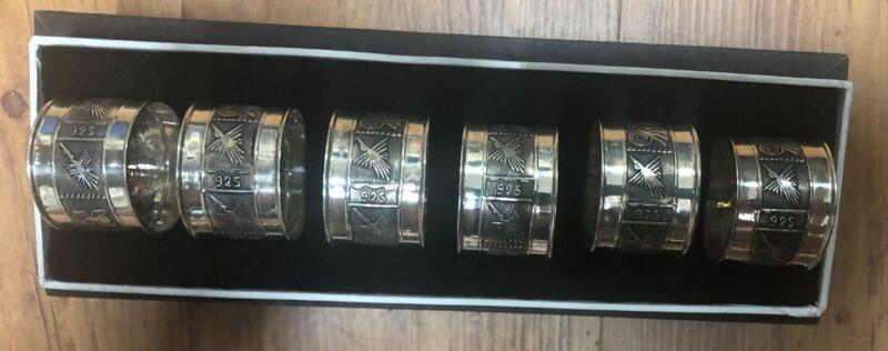Six Sterling Silver Napkin Rings 925- Peru Aztec