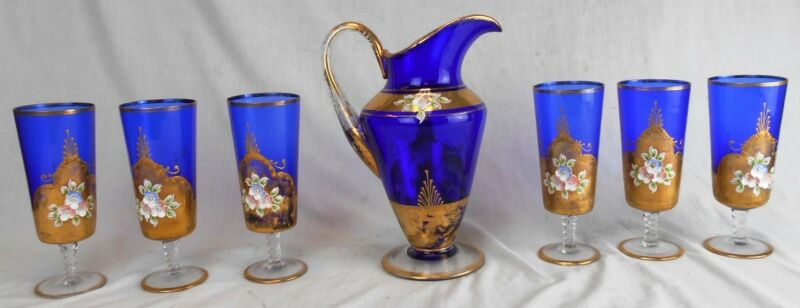 Beautiful Antique Vintage Bohemian Blue Glass Gold Water Pitcher Set w/6 Glasses