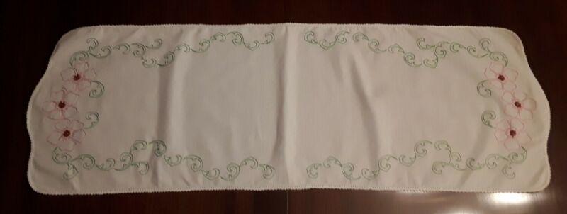 "Vintage White Embroidered Table Runner Dresser Scarf Flowers/Vine 44"" x 15 1/2"""