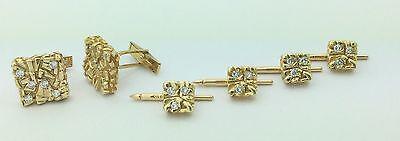 Men's Estate Designer Lindsay 18K Y.G . Diamonds  1.50 Cts  Cufflinks & Stud