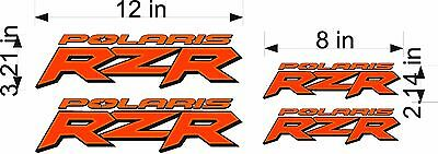 Polaris Logo Rzr   4 Pack   Orange   Vinyl Vehicle Atv Emblem Graphic Decals