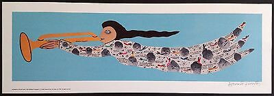"Signed HOWARD FINSTER Folk Art ANGEL Print - Unframed MINT - 27.25"" x 9.25"""