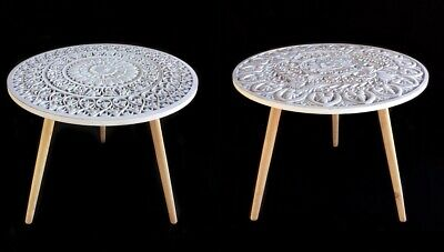 SET 2 HANDCRAFTED ROUND SIDE TABLE LAMP NIGHTSTAND WHITE 60X57CM