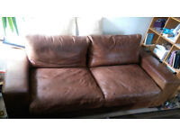 3-Seat Leather Sofa. sofaworkshop. Single leather pieces, no seams front/side/back. £450 ono