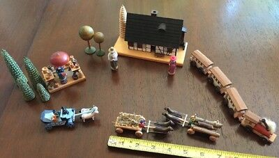 Echte Erzgebirgische Handarbeit Village Train People Trees Germany Set for sale  Clanton
