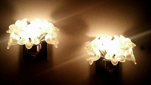 Pair Italian Murano Style Wall Sconces Venini Glass Lamps Vintage Gilded Lights