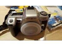 Minolta Dynax 505si 35mm SLR film camera in very good condition complete w/ 28-80 and 75-300 lenses