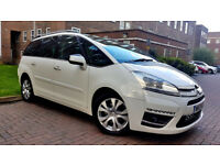WHITE CITROEN C4 GRAND PICASSO PLATINUM 2.0 DIESEL AUTOMATIC PCO READY PANORAMIC ROOF ALLOYS PX