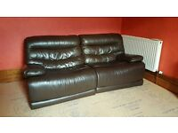 Sofa Leather Double Recliner Brown