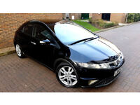 BLACK HONDA CIVIC 2.2i-CDTi DIESEL PANORAMIC ROOF 5 DOOR ALLOYS PUSH BUTTON START BLUE TOOTH PX