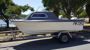 14.5 ft HALF CABIN OFFSHORE/FAMILY/SKI BOAT 115hp Johnson Trailer Burleigh Waters Gold Coast South Preview