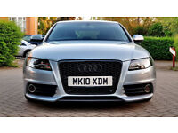 SUPERB GREY AUDI A4 2.0 TDI S LINE 2010 SPECIAL EDITION 170BHP PREMIUM SOUND SATNAV LEATHERS ALLOYS