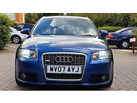 Blue Audi A3 2.0 TDI S LINE SPECIAL EDITION Diesel SPORT BACK 5 DOORS Leathers tinted windows PX