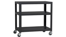 Media Trolley Shelving 3-Shelf Cart Carbon Grey Imported from USA Crate & Barell Store