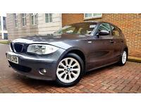 SUPERB GREY BMW 1 SERIES 2.0 120i SE AUTOMATIC 5 DOOR LOW MILEAGE BEIGE LEATHER INTERIOR AUTO