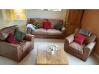 3 SEATER SOFA AND 2 ARM CHAIRS ANILINE LEATHER SET