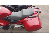 Honda 650cc deauville red with extra wide panniers and bags