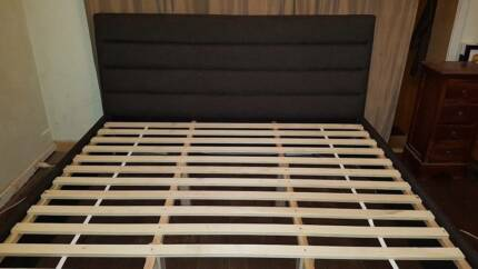 Charcoal Fabric Double Size Frame With Foot Draws