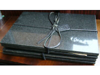 """Set of 4 Unused Black Granite Place Mats """"Lifestyle Collections"""""""