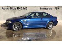 BMW E46 M3 Individual Avus Blue, 71k, FSH, Manual, CSL Shadow Chrome, Immaculate