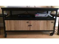 Industrial style TV unit with storage