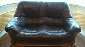 Solid oak brown leather 2 seater and armchair