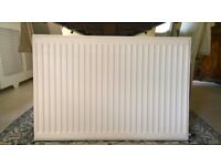 White steel double panel radiator for central heating system