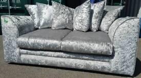 BRAND NEW Designer Crushed Velvet Silver Sofa DELIVERY AVAILABLE