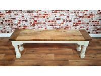 Rustic Farmhouse Kitchen Dining Bench Hardwood with Refectory / Turned Legs