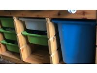 Wooden storage unit solid with boxes
