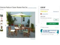 Madison 8 seater Garden Table and Chairs, with Parasol and Chair cushions.