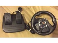 PLAYSTATION 2 PS2 STEERING WHEEL & PEDDLES With GAMES