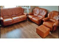 Italian leather sofa suite