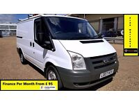 Finance £95 P/ M- Ford Transit Low Roof SWB Van 2.2 300 -66k Miles ONLY-1 Owner-FSH -1YR MOT-260 280