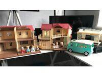 Sylvanian Families 2x Houses, 2x Families, Campervan & Carport