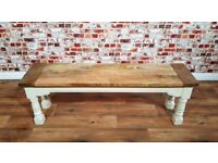 Rustic Farmhouse Dining Bench Hardwood with Refectory Legs