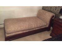 Wonderful Solid Mahogany Wood Chaise Longue