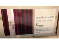 Brand New M&S Extra Wide Width Chenille Thinsulate Pencil Pleat Curtain 218x183