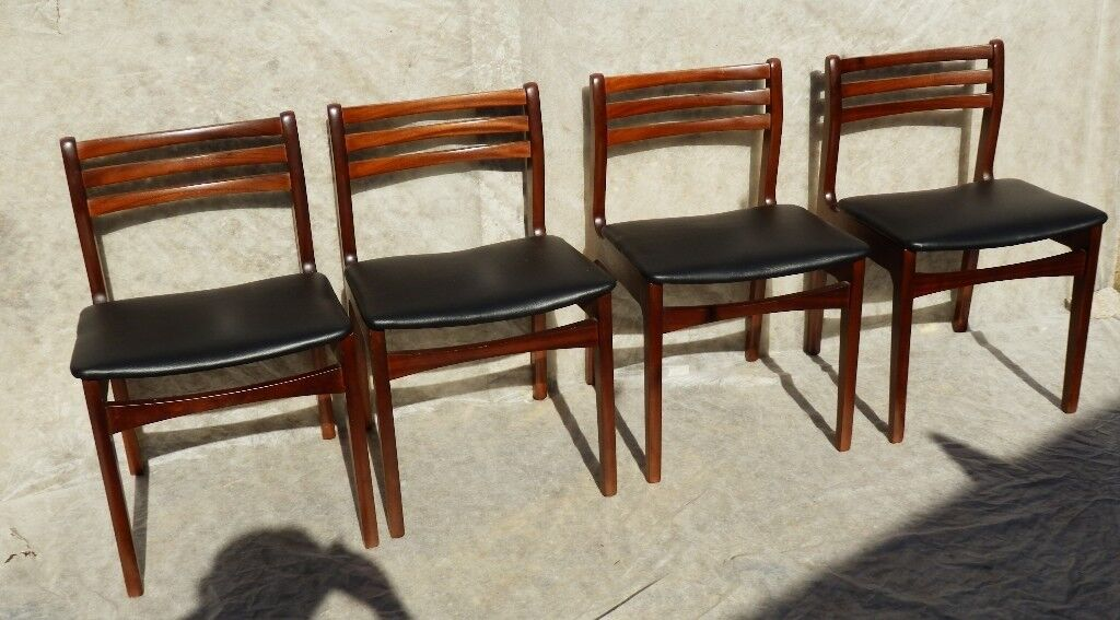 Pleasing Set Of 4 Vintage Retro Mid Century Teak Black Vinyl Dining Chairs Danish Scandi Style In Hull East Yorkshire Gumtree Gmtry Best Dining Table And Chair Ideas Images Gmtryco
