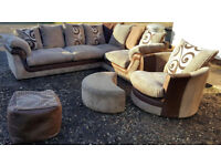 Corner Sofa Swivel Chair Brown/Beige. Can deliver